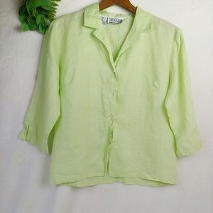 Vintage Spring Yellow Green Linen Blouse